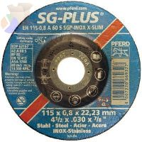 Type 1 SGP-INOX Flt Cut-Off Whl, 4 1/2 in Dia, .04 in Thick, 60 Grit, Alum Oxide