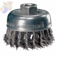 "P.O.P. 2-3/4"" Knot Wire Cup Brush, .020 CS Wire, 5/8-11 Thread (ext.)"