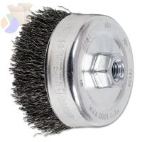 Crimped Cup Brush, 4 in Dia., 5/8-11 Arbor, 0.02 in Steel Wire