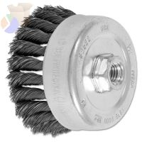 Std. Twist Single Row Cup Brush, 4 in Dia., 5/8 Arbor, 1 1/4 x .014 Carbon Steel