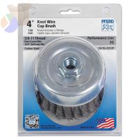 Standard Twist Single Row Cup Brush, 4 in Dia., 5/8-11 Arbor, .02 Carbon Steel
