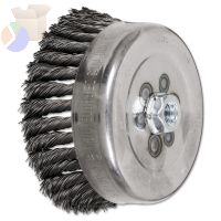 Std. Twist Single Row Cup Brush, 6 in Dia., 5/8-11 Arbor, 1 1/2 x .023 in Wire
