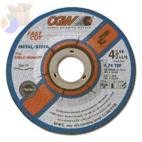 Depressed Center Wheel, Type 28, 9 in Dia, 1/4 in Thick, 5/8 in Arbor, 24 Grit