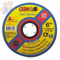 Contaminate Free Cut-Off Wheel, 5 in Dia, .045 in Thick, 36 Grit Alum. Oxide