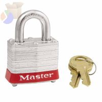 Steel Body Safety Padlocks, 9/32 in Diam., 3/4 in L X 5/8 in W, Red