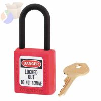 "Dielectric Zenex Thermoplastic Safety Padlock, 1/4"" Dia., 1 1/2 L x 25/32""W, Red"