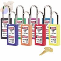 No. 410 & 411 Lightweight Xenoy Safety Lockout Padlocks, Green, Keyed Diff