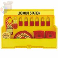 Safety Series Lockout Stations, 22 in, Valve, Anod. Alum., 1/4, 1 1/2, 25/32 in