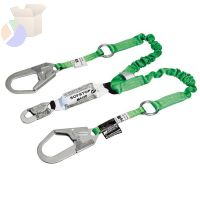 StretchStop Shock Absorbing Lanyard, 6 ft, Metal Ring, 2 Locking Rebar, 2 Legs