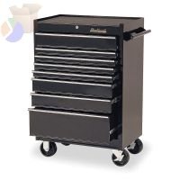 8 Drawer Roller Cabinets, 27 in x 18 in x 41 1/2 in, 8 Drawers, Black