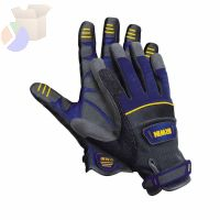 General Construction Gloves, Large, Unlined, Black/Blue