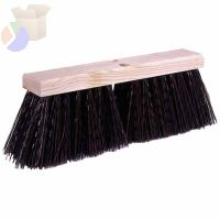 Street Brooms, 18 in Hardwood Block, 5 1/4 in Trim L, Brown Polypropylene Fill