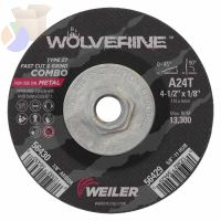Wolverine Combo Wheels, 4 1/2 in Dia, 1/8 Thick, 5/8 in - 11, Arbor, 24 Grit, R