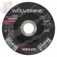 Wolverine Combo Wheels, 4 1/2 in Dia, 1/8 in Thick, 7/8 in Arbor, 24 Grit, R