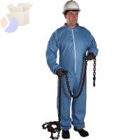 FR Protective Coveralls, Blue, 5XL, w/Hood, Elastic Wrists/Ankles, Zip Front