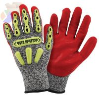 Synthetic Leather Palm Gloves, X-Large, Gray Shell, Red Palm, Elastic, Unlined