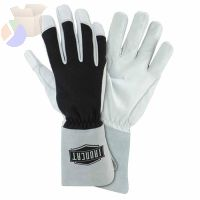 Nomex Tig Gloves, Nomex; Goat Leather; Kevlar Thread, 2X-Large, Black;White;Gray