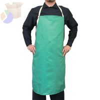 Cotton Sateen Bib Apron w/Protective Leather Patch, 24 in x 42 in, Visual Green
