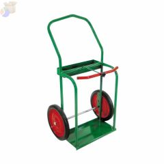 "High-Rail Frame Dual-Cylinder Cart, For 9.5"" Cylinders, 14"" Solid Rubber Wheels"