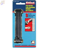 Inch Fold-Up Hex Key Sets, 9 per fold-up, Ball Hex Tip, Inch, Medium