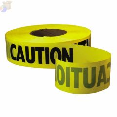 Safety Barricade Tape, 3 in x 1,000 ft, Yellow, Caution, Custom Branded