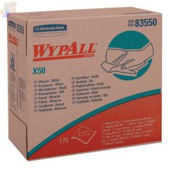 WypAll X50 Wipers, Pop-Up Box, White, 176 per box