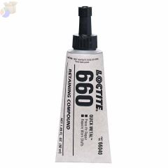 660 Quick Metal Retaining Compound, 50 mL Tube, Silver, 3,300 psi