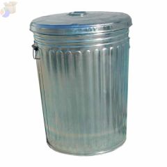 Pre-Galvanized Trash Can With Lid, 20 gal, Galvanized Steel, Gray