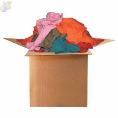 Color Knit T-Shirt Polo Cotton Wiping Rags, 25 lb, Box