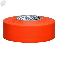 Flagging Tape, 1 3/16 in x 150 ft, Orange Glo